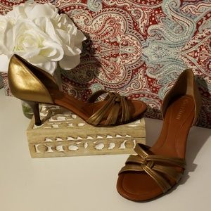 COLE HAAN GOLD/BROWN LEATHER D'ORSAY HEELS